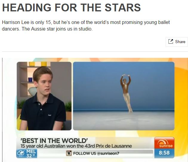 Harrison Lee ballet dancer on Sunrise
